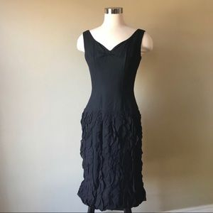 Vintage 50s Black Ruffle Silk Midi Cocktail Dress